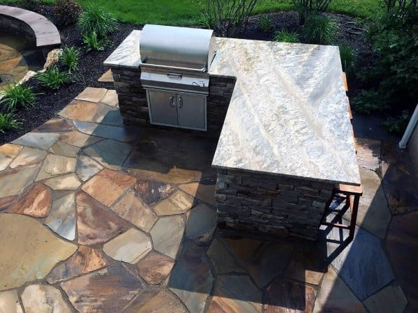 L Shaped Built In Grill Cool Backyard Ideas