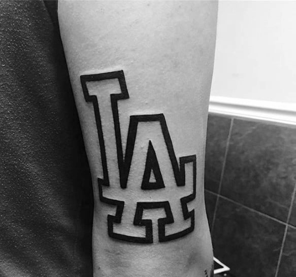 La Outline Letters Dodgers Tattoos Male On Tricep
