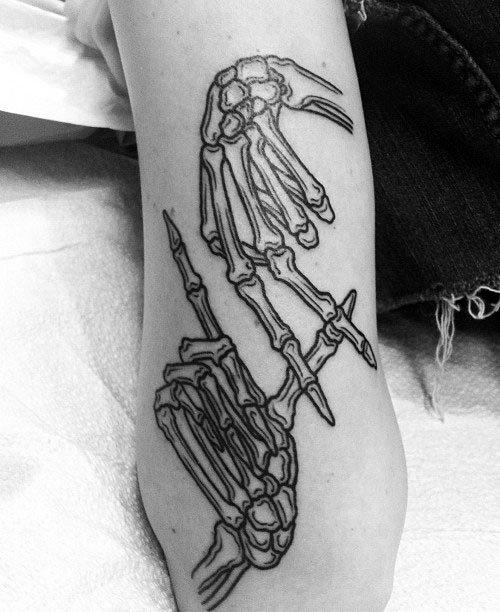 La Sign Male Skeleton Hand Outer Forearm Tattoo Design Ideas