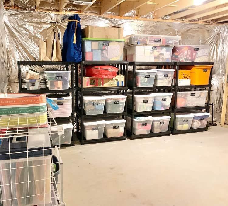 Labeled Clear Bin Basement Storage