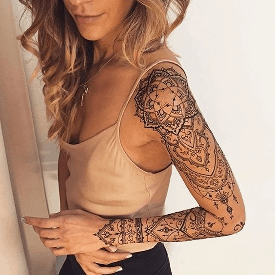 Lace Mandala Sleeve Shoulder Tattoo