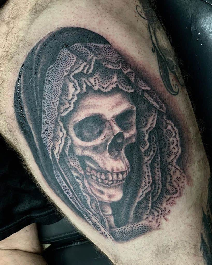 Lace Black And Grey Realism Skull Tattoo