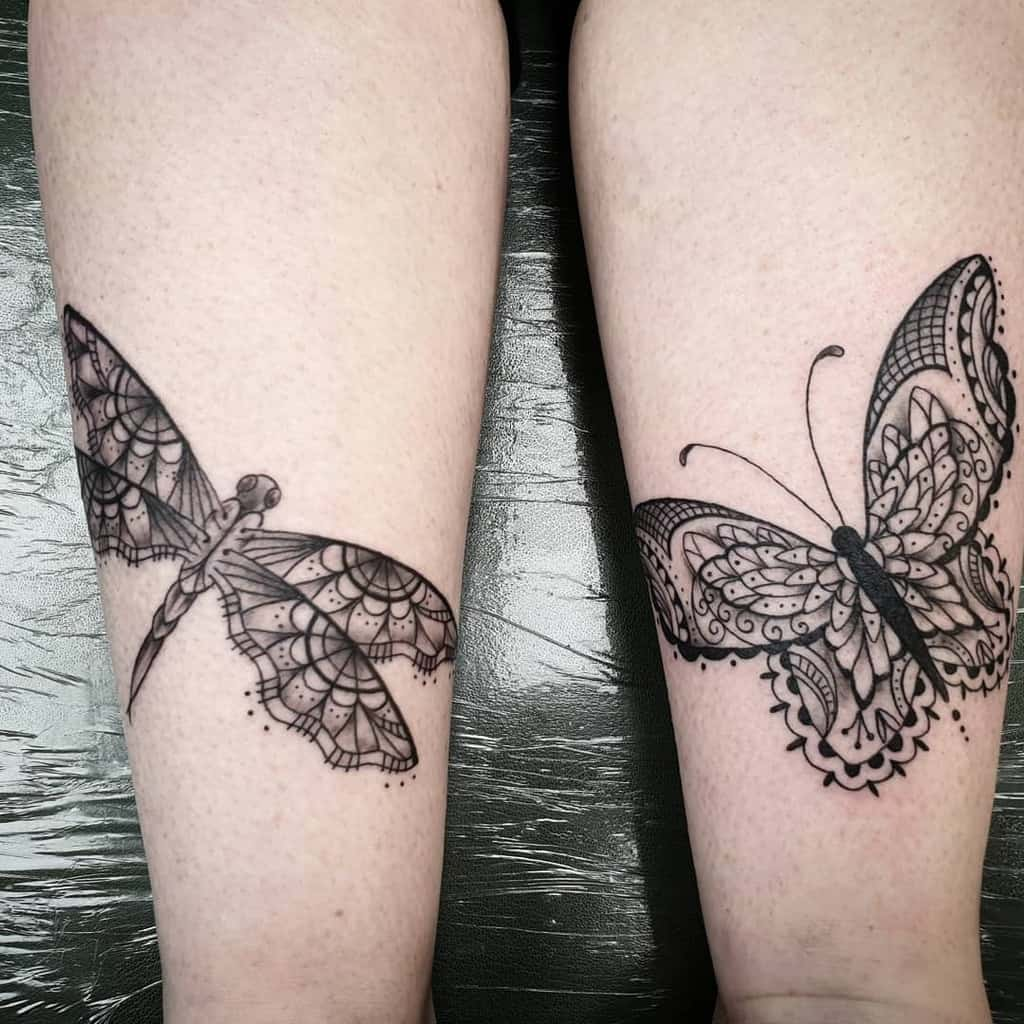 Lace Butterfly Dragonfly Tattoo