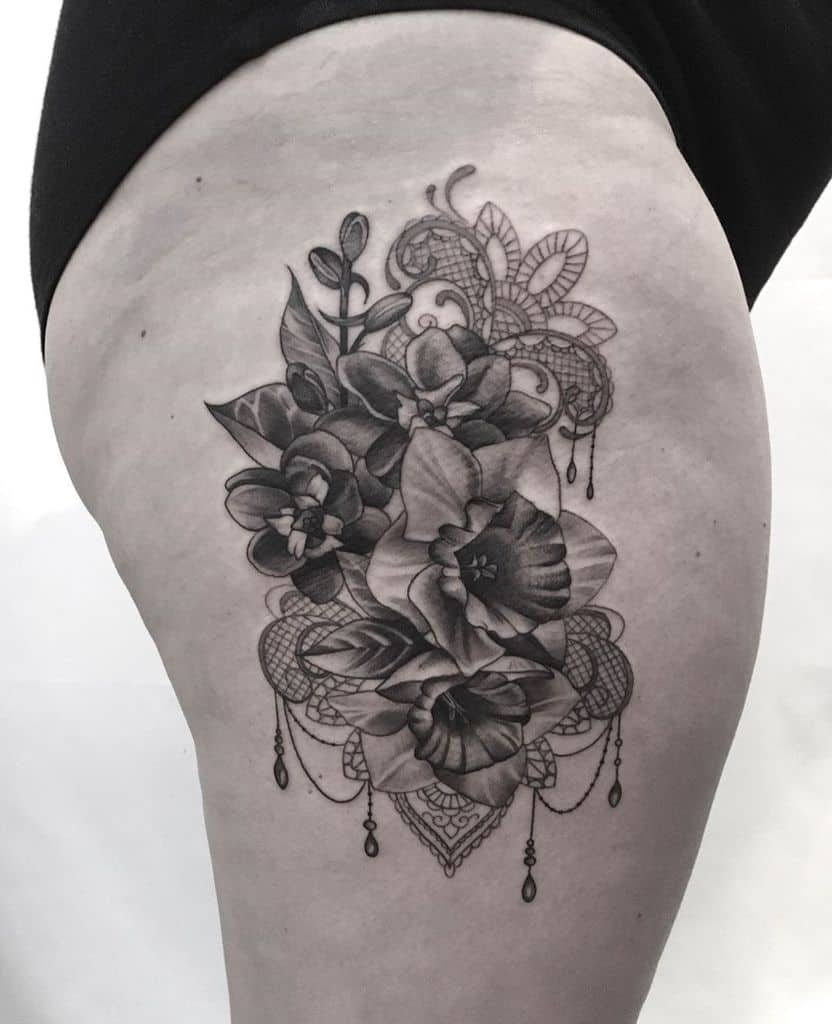 Lace Decoration Floral Thigh Tattoo