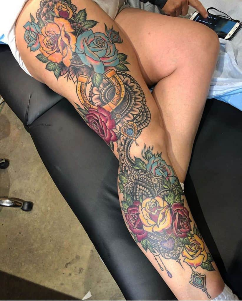 Lace Rose Full Leg Sleeve Tattoo