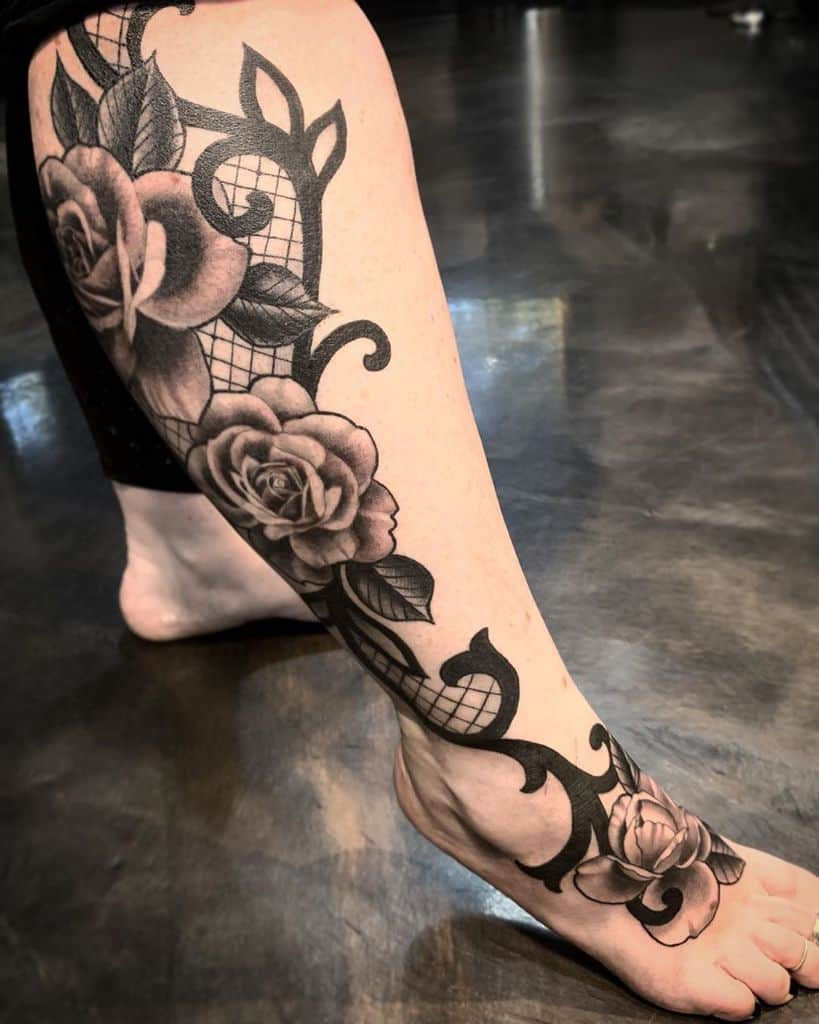 Lace Rose Leg To Foot Tattoo