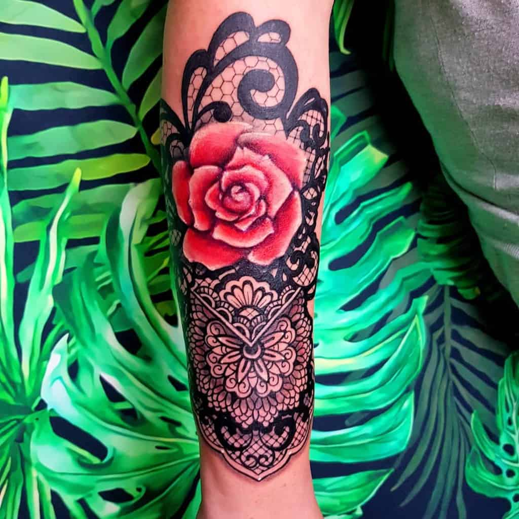 Lace Rose Traditional Tattoo