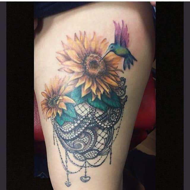 Lace Sunflower Humming Bird Tattoo