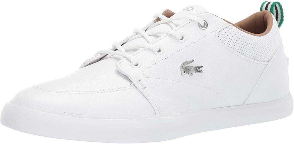 lacoste mens bayliss white sneaker isolated on white background