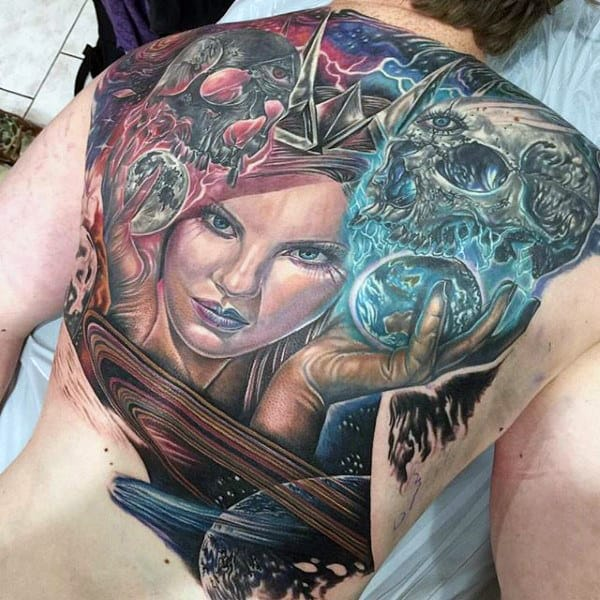 Lady Holding Skull With Magical Colorful Swirls And Planet Tattoo Male Full Back