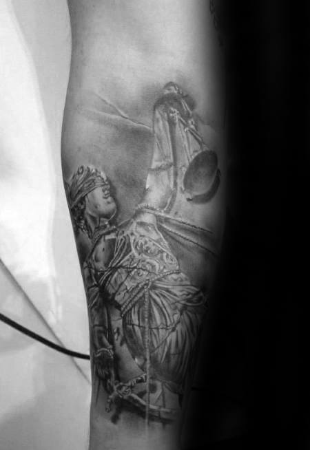 Lady Justice Heavily Shaded Inner Forearm Tattoos For Males
