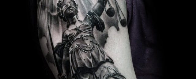 40 Lady Justice Tattoo Designs For Men - Impartial Scale Ideas