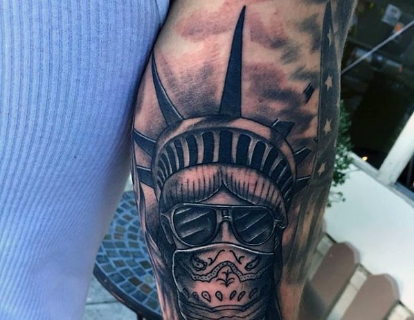 Lady Liberty With Sunglasses And Mask Mens Tattoos