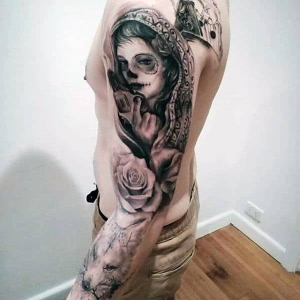 Lady With Pistol And Rose Full Sleeve Tattoo For Guys