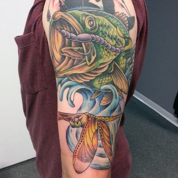 Lake Bass Fishing Sleeve Tattoo Inspiration