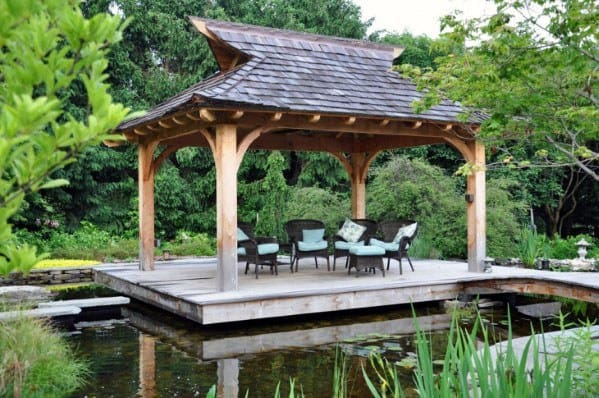 Lake Covered Pergola Floating Deck Home Ideas