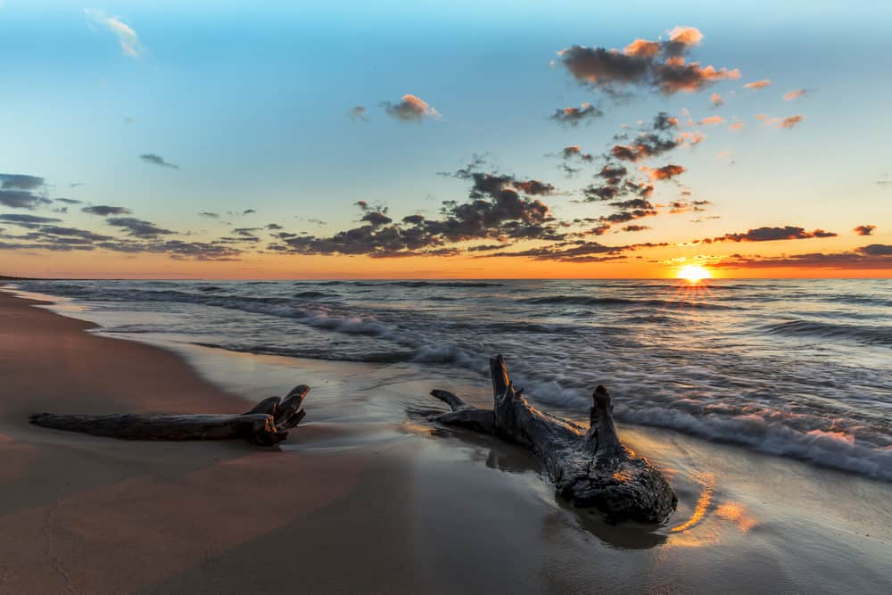 lake huron beach sunset michigan
