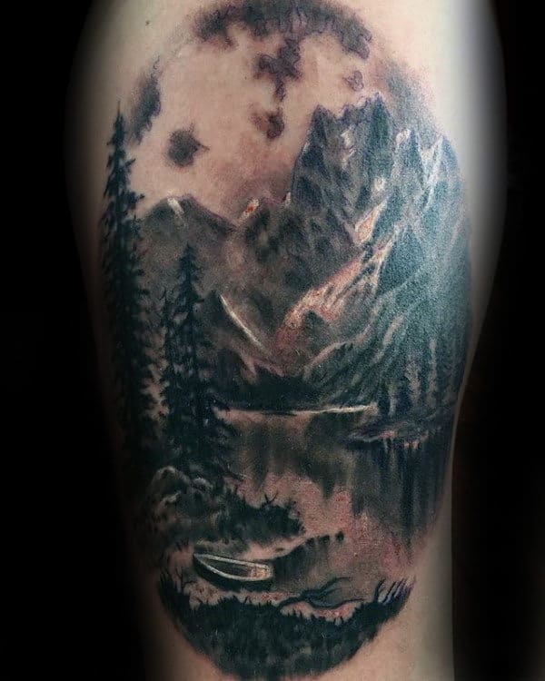 Lake Landscape Mens Thigh Tattoo Ideas
