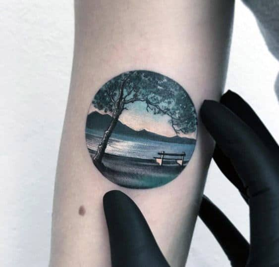 Lake Male Small Detailed Arm Tattoo Designs