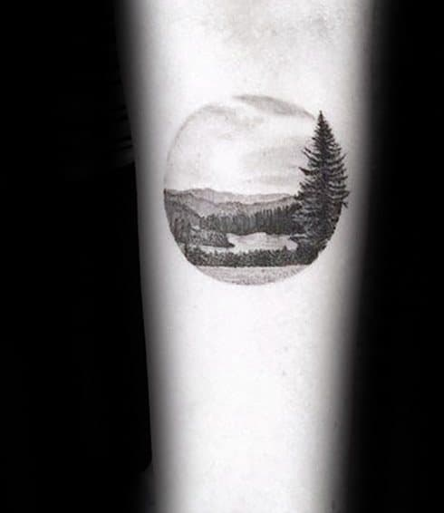 Lake Male Tattoos On Inner Forearm
