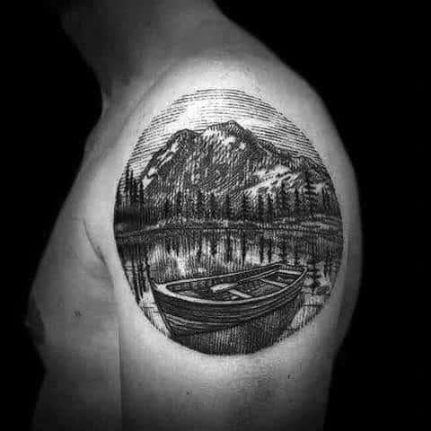 Lake Mens Tattoo Ideas On Upper Arm