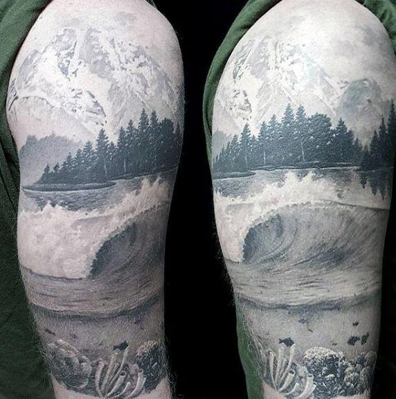 Lake Tattoos For Gentlemen Half Sleeve