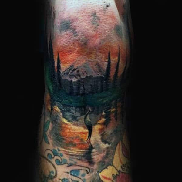 Lake With Mountains Guys Knee Tattoo