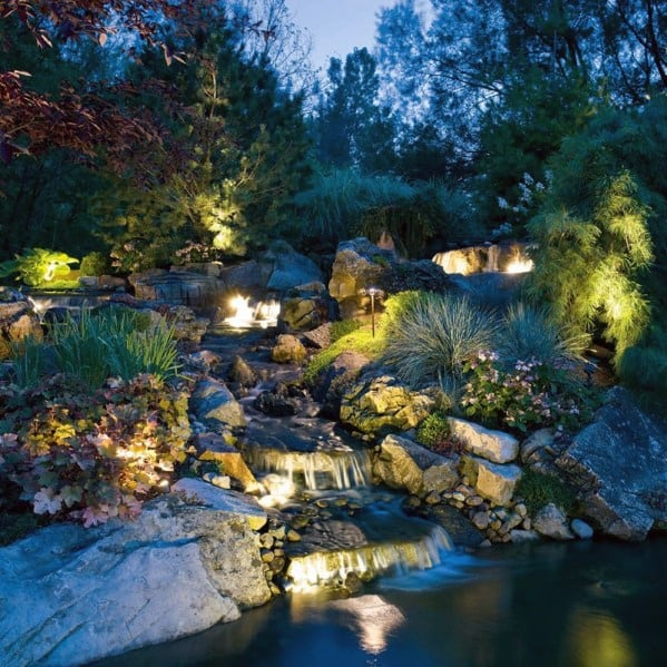 Landscape Lighting Outdoor Ideas Backyard Waterfall