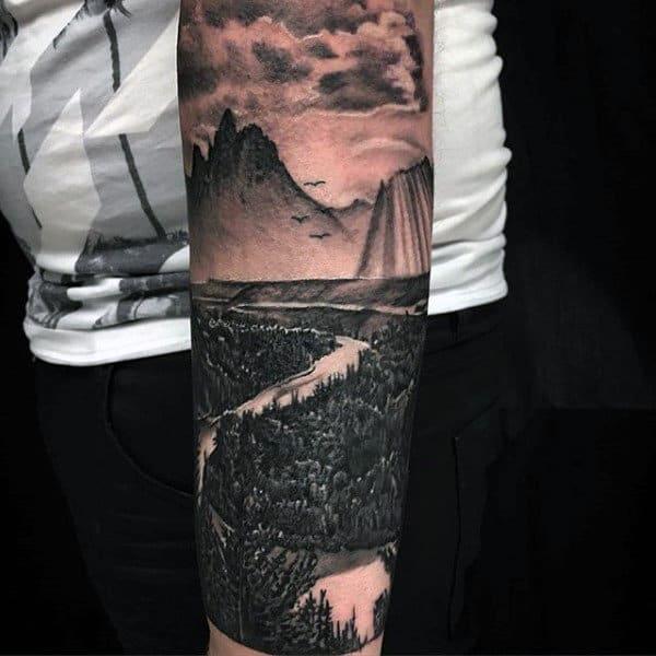 Landscape Realistic Guys Forearm Sleeve Tattoo Ideas
