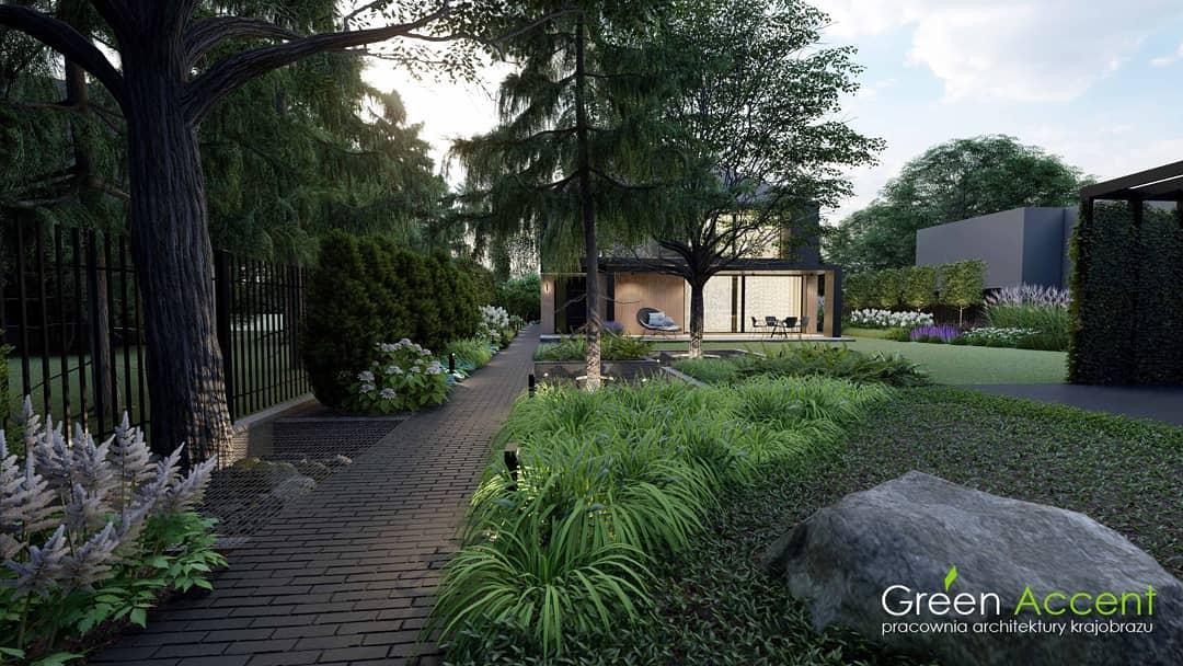 landscaped shade garden ideas green_accent