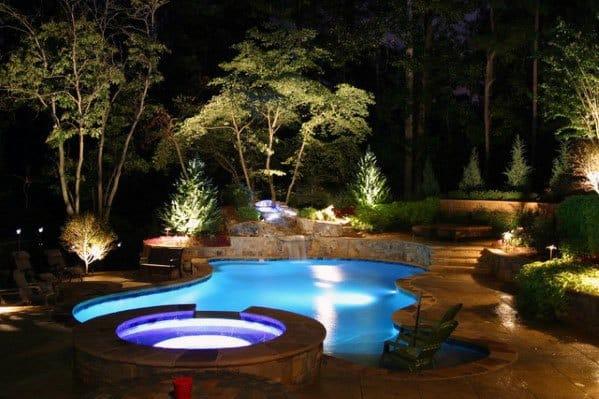 Landscaping Lighting Ideas Backyard Pool
