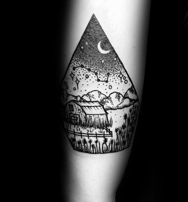 Lanscape Of Farm With Wheat And Constellation Mens Small Tattoo Ideas