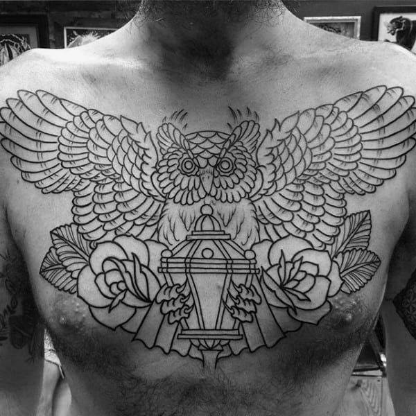 Lantern Male Traditional Owl Chest Tattoos With Rose Flower Deisgn