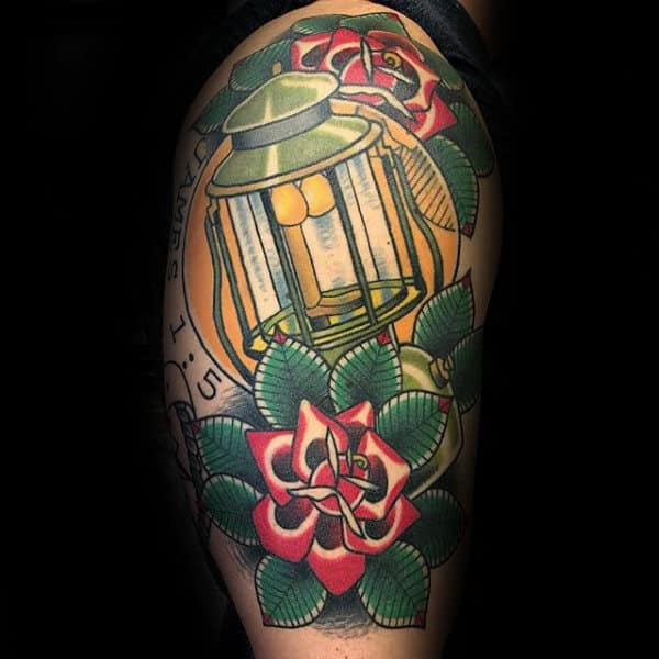 Lantern Traditional Rose Mens Half Sleeve Tattoo Designs