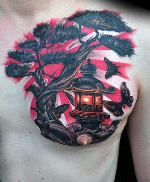 Lantern With Bonsai Tree Rising Sun Mens Upper Chest Tattoos