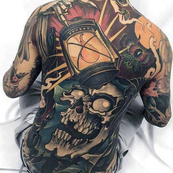 Lantern With Skull Modern Guys Full Back Tattoos