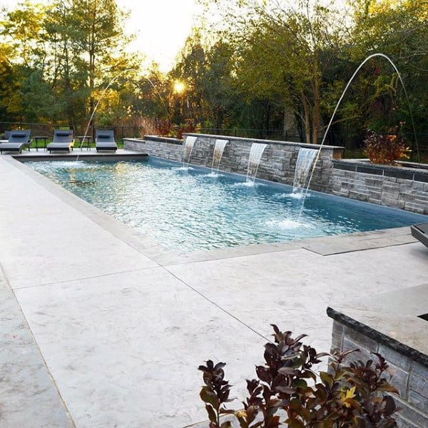 Lap Home Swimming Pool With Fountain Design