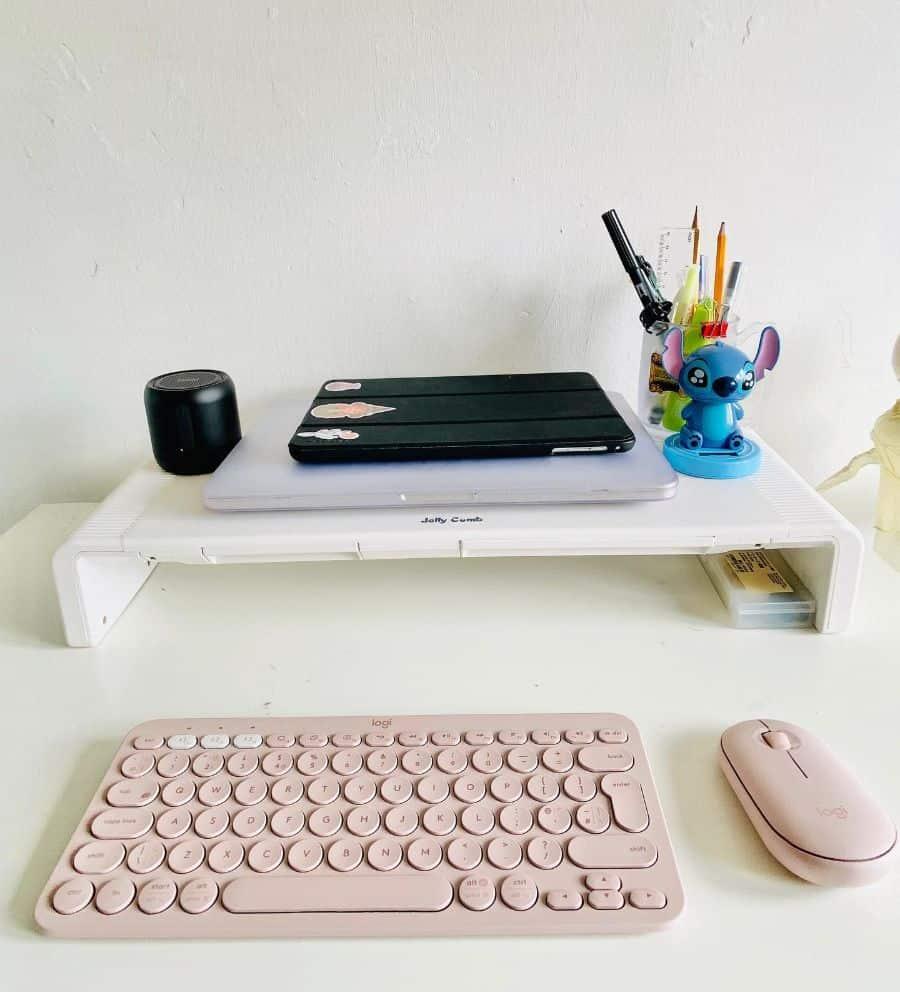 laptop desk setup ideas allytheberry