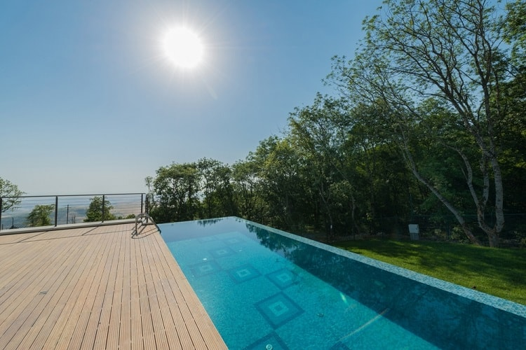 Large Above Ground Infinity Pool Deck