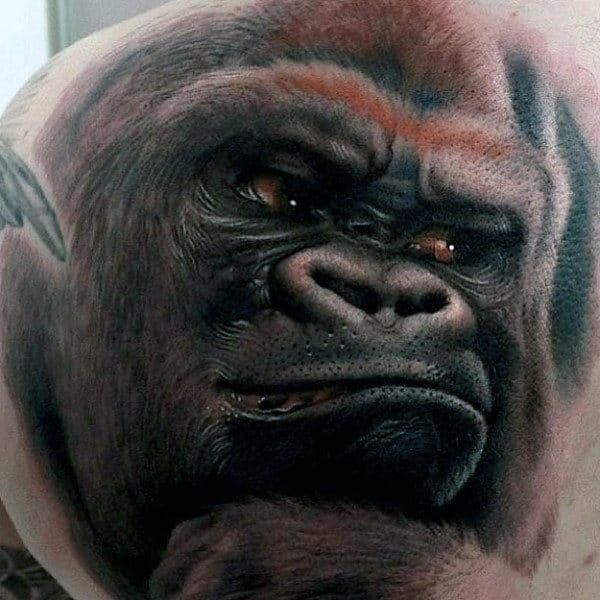 Large Back Gorilla Tattoo For Guys