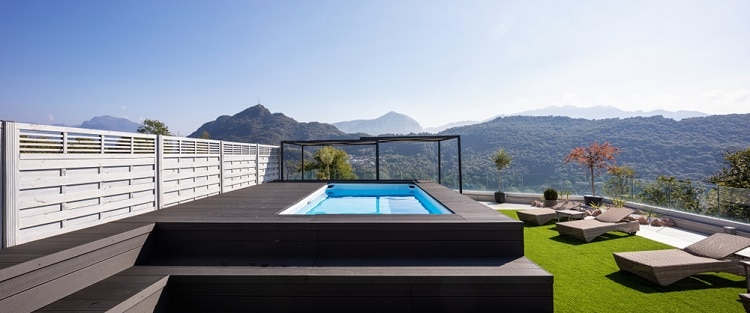 Large Balcony Modern Above Ground Infinity Pool Deck