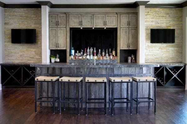 Large Bar Rustic Basement Ideas