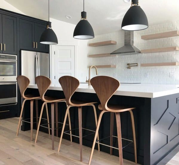Large Black Vintage Look Ceiling Pendants Kitchen Island Lighting Design Ideas