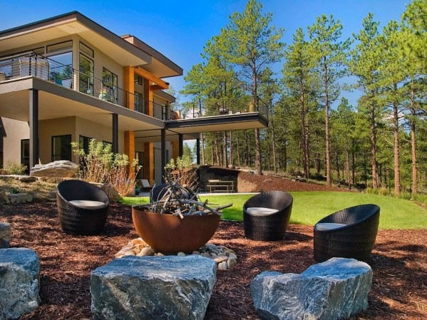 Large Boulder Rock Design Ideas For Fire Pit Seating