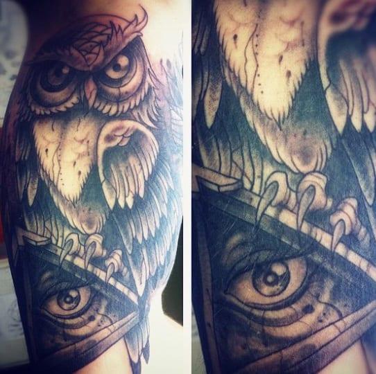 Large Clawed Owl Illuminati Tattoo Male Forearms