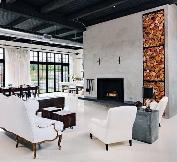 Large Concrete Fireplace Design With Firewood Built In Storage Shelves