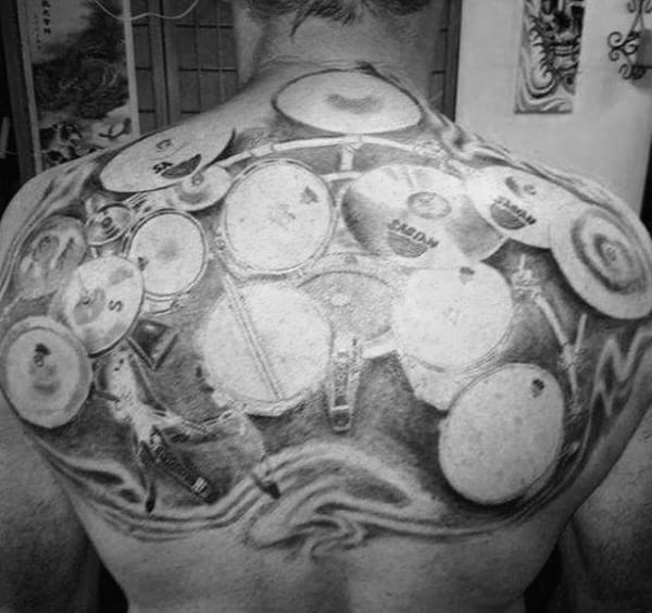 Large Drum Set Mens Upper Back Tattoos