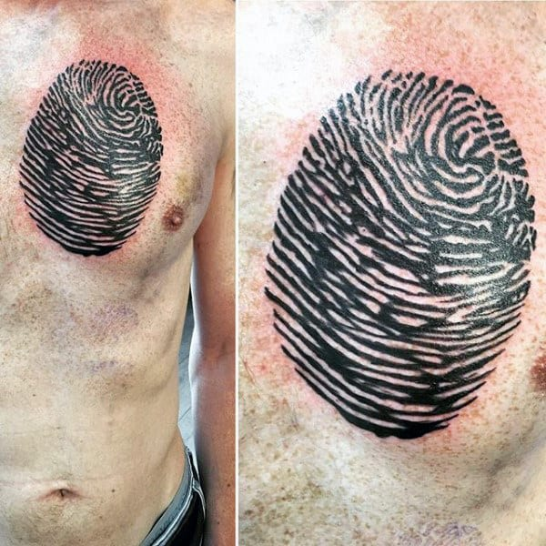 Large Fingerprint Mens Upper Chest Tattoos