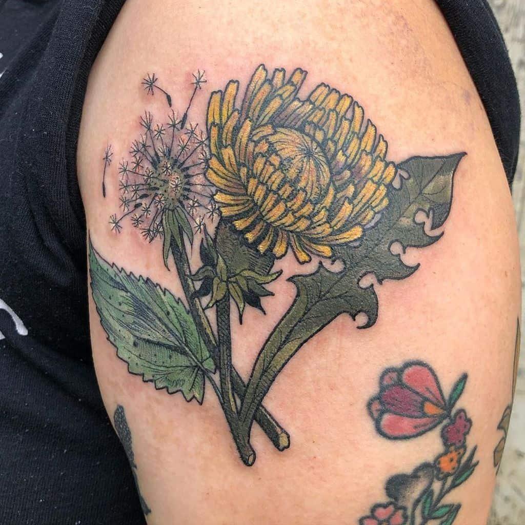 large floral dandelion tattoo