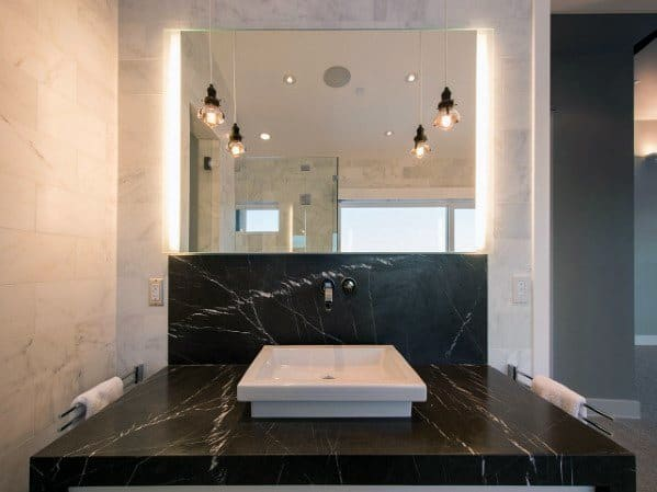 Large Format Black Marble Bathroom Backsplash Ideas Inspiration